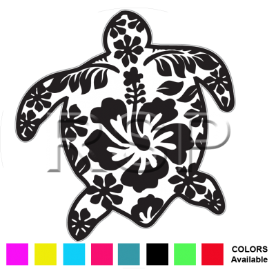 DECAL 4x4 Floral Honu