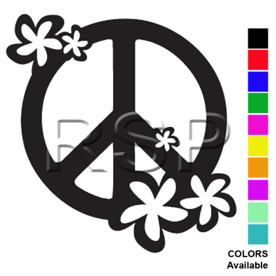DECAL 2x2 Floral PEACE