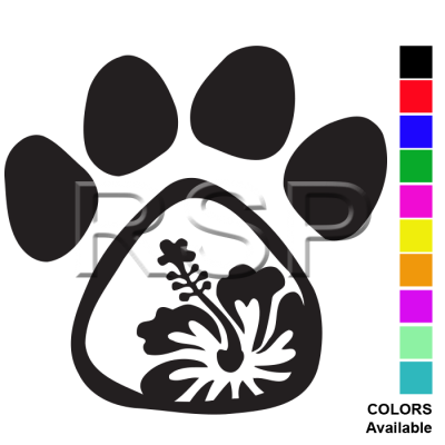 DECAL 2x2 Hibiscus PAW