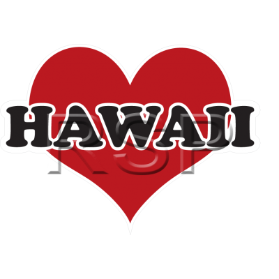 DECAL 4x4 Heart Hawaii