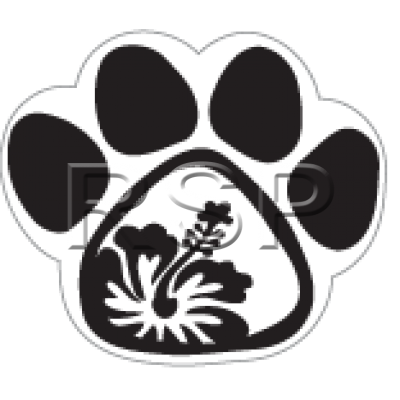 DECAL 4x4 Hibscus Paw