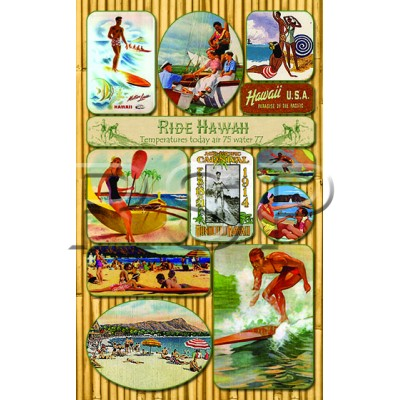 Vintage Hawaiian SURF theme STICKERS