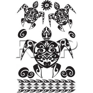 TT Tahitian Honu Turtle Temporary Tattoos
